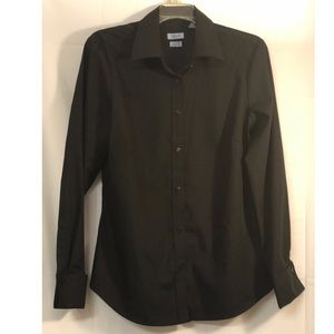 IZOD Black NO IRON Button Front French Cuff Blouse